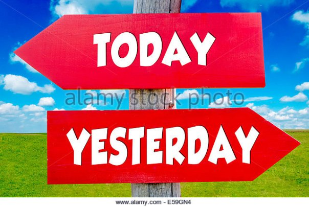 today-and-yesterday-concept-on-the-red-signs-with-landscape-in-background-e59gn4